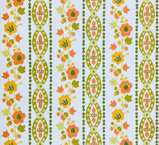 Floral Striped Wallpaper Orange and Green