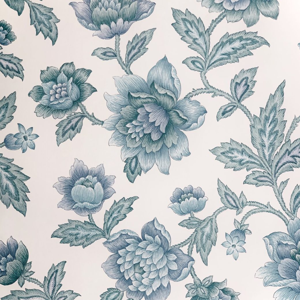 Blue floral wallpaper 3