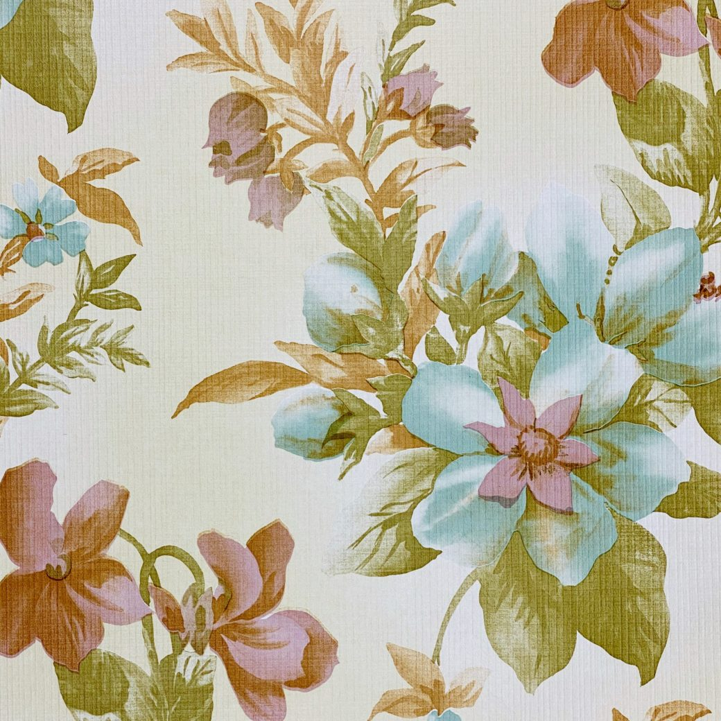 Floral Wallpaper Blue and Purple 3