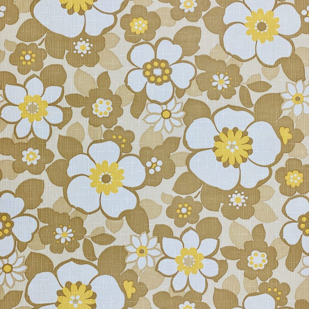 Floral Wallpaper Brown and Yellow 1