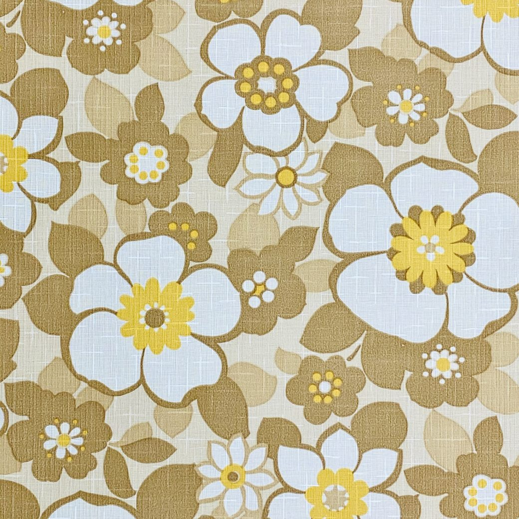 Floral Wallpaper Brown and Yellow 3