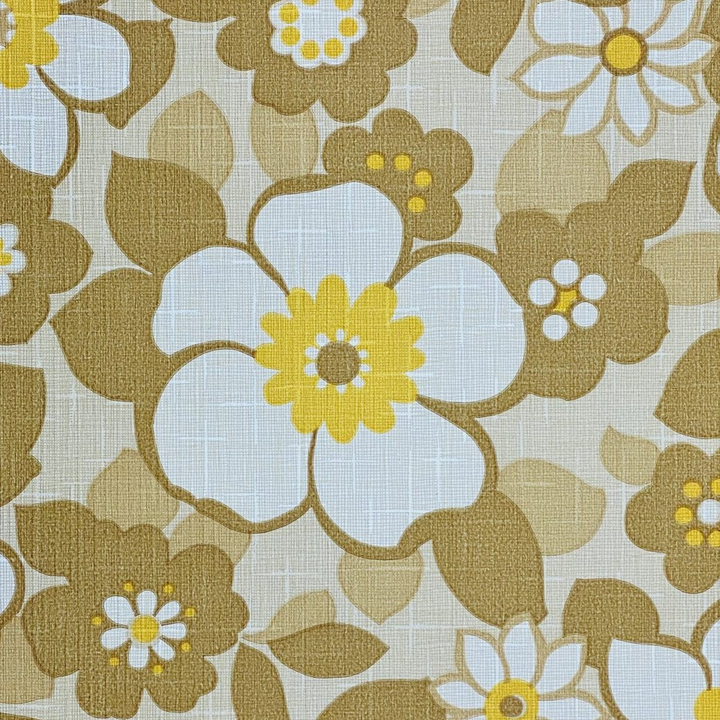Floral Wallpaper Brown and Yellow 6