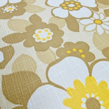 Floral Wallpaper Brown and Yellow 7