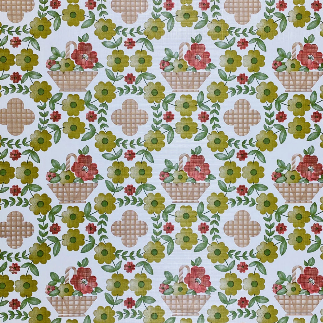 Floral Wallpaper Red Brown Green 1