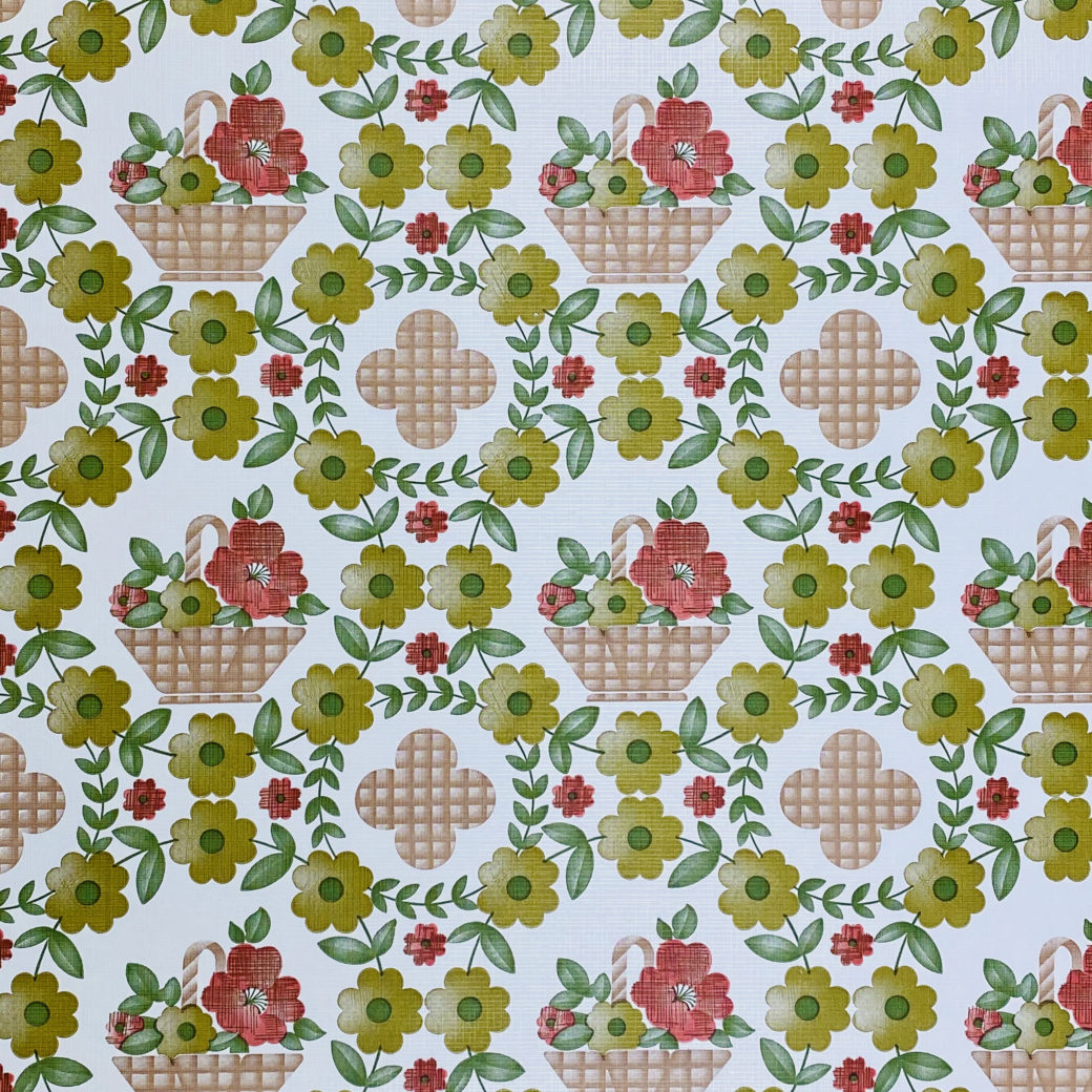 Floral Wallpaper Red Brown Green 2