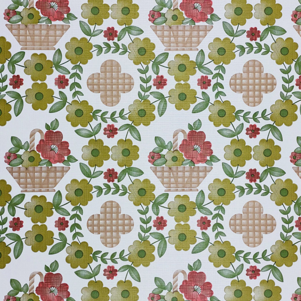 Floral Wallpaper Red Brown Green 3