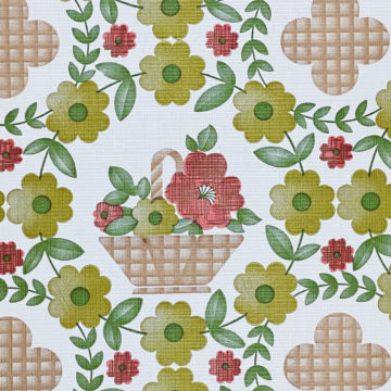 Floral Wallpaper Red Brown Green 5