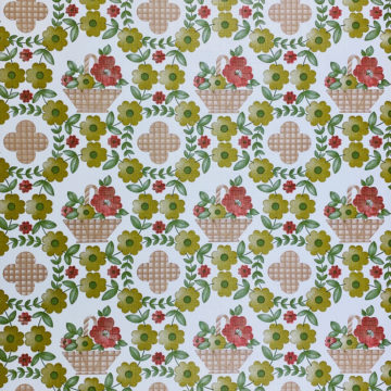 Floral Wallpaper Red Brown Green