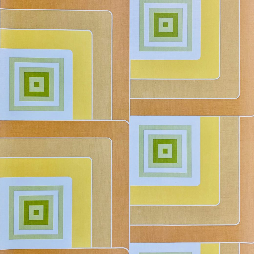 Geometric Wallpaper Brown and Green