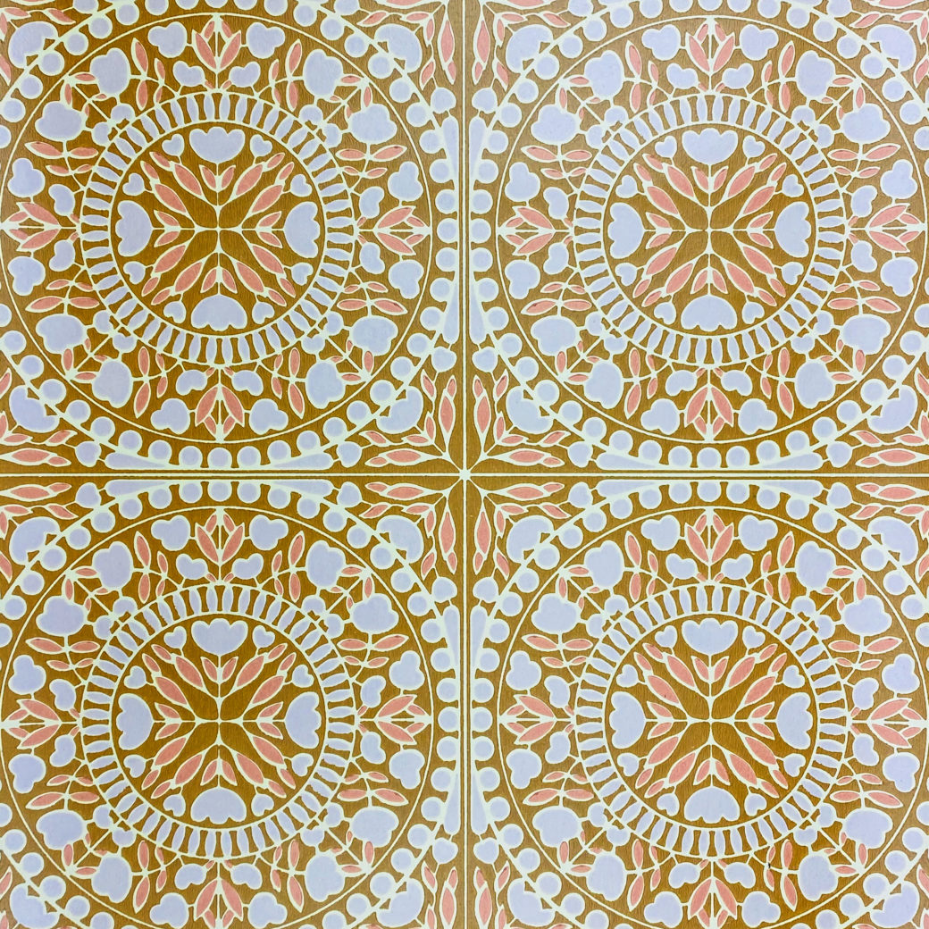 Geometric Wallpaper Violet and Pink on Brown 1