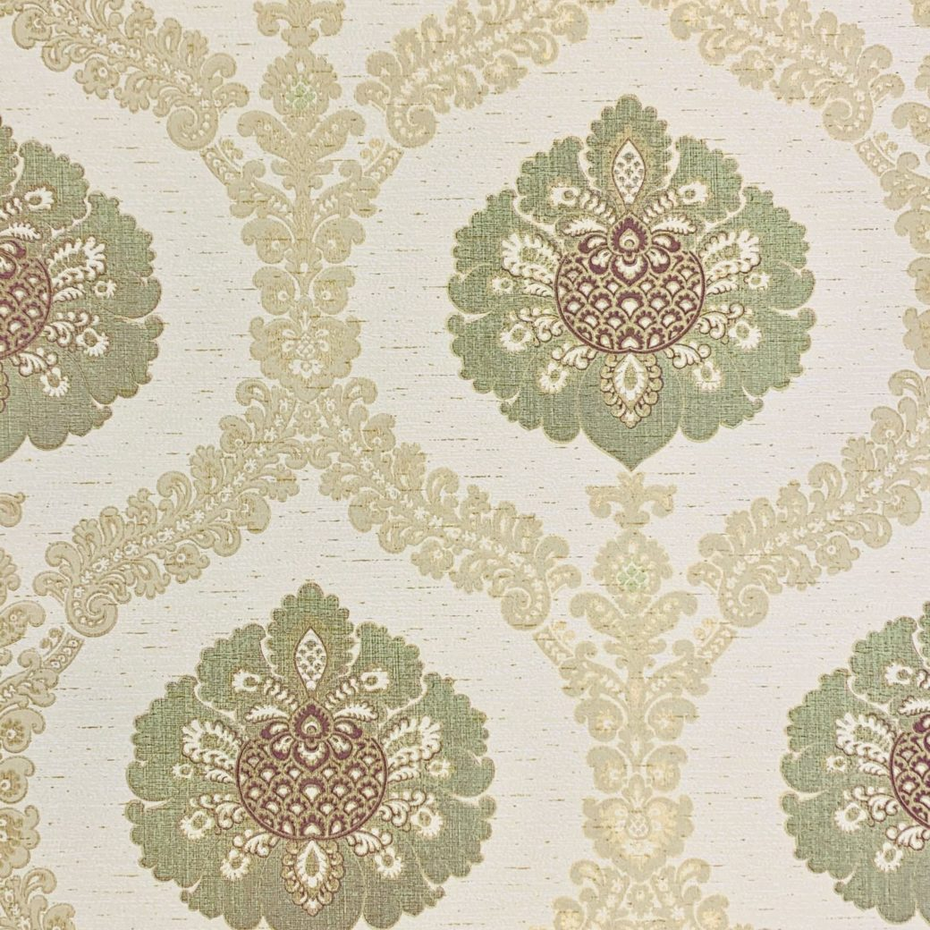 Green and gold baroque wallpaper