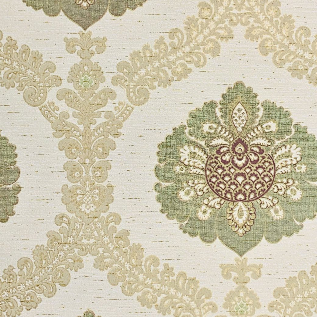 Green and gold baroque wallpaper 2