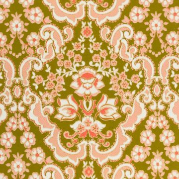 Green and pink baroque wallpaper