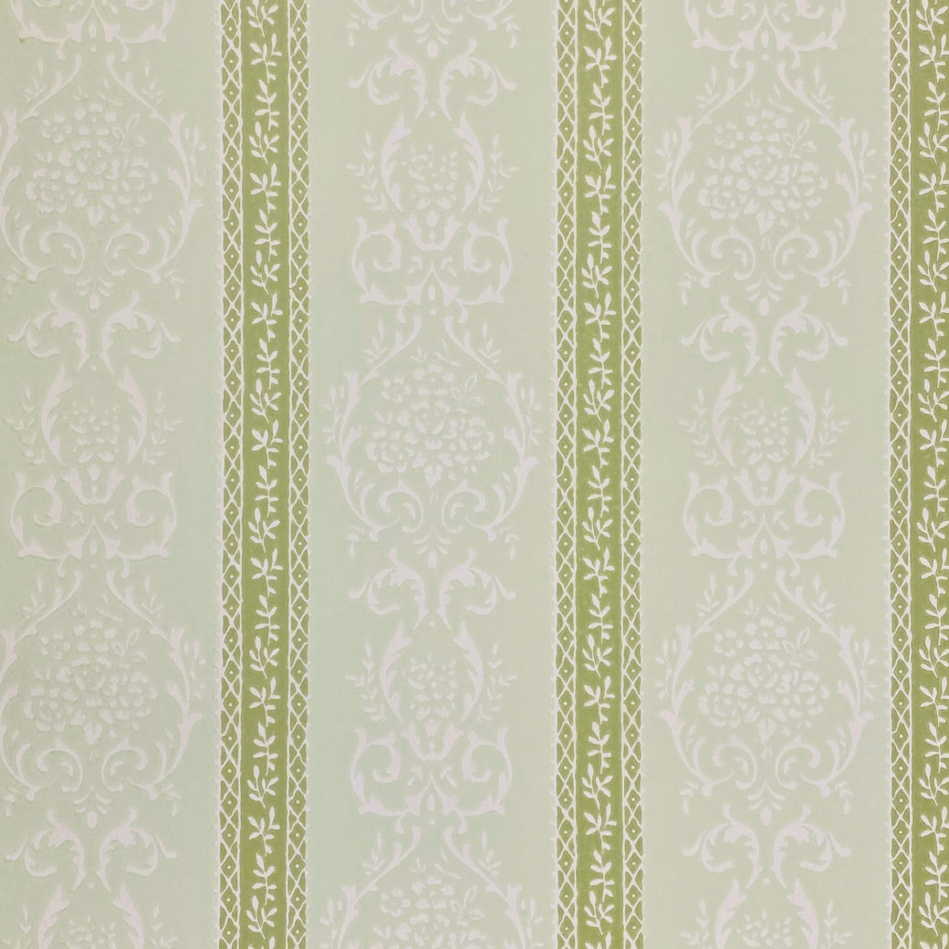 Green Floral Stripe Wallpaper 1