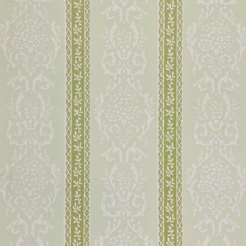 Green Floral Stripe Wallpaper 2