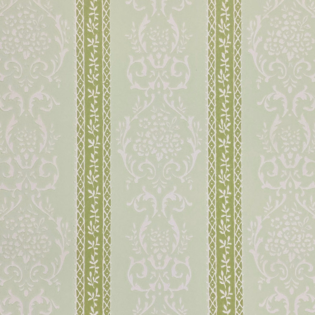 Green Floral Stripe Wallpaper 3