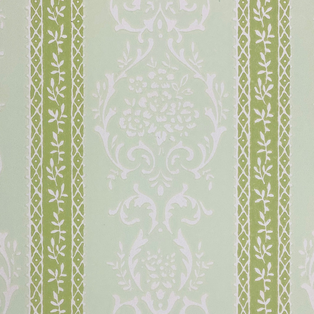 Green Floral Stripe Wallpaper 5