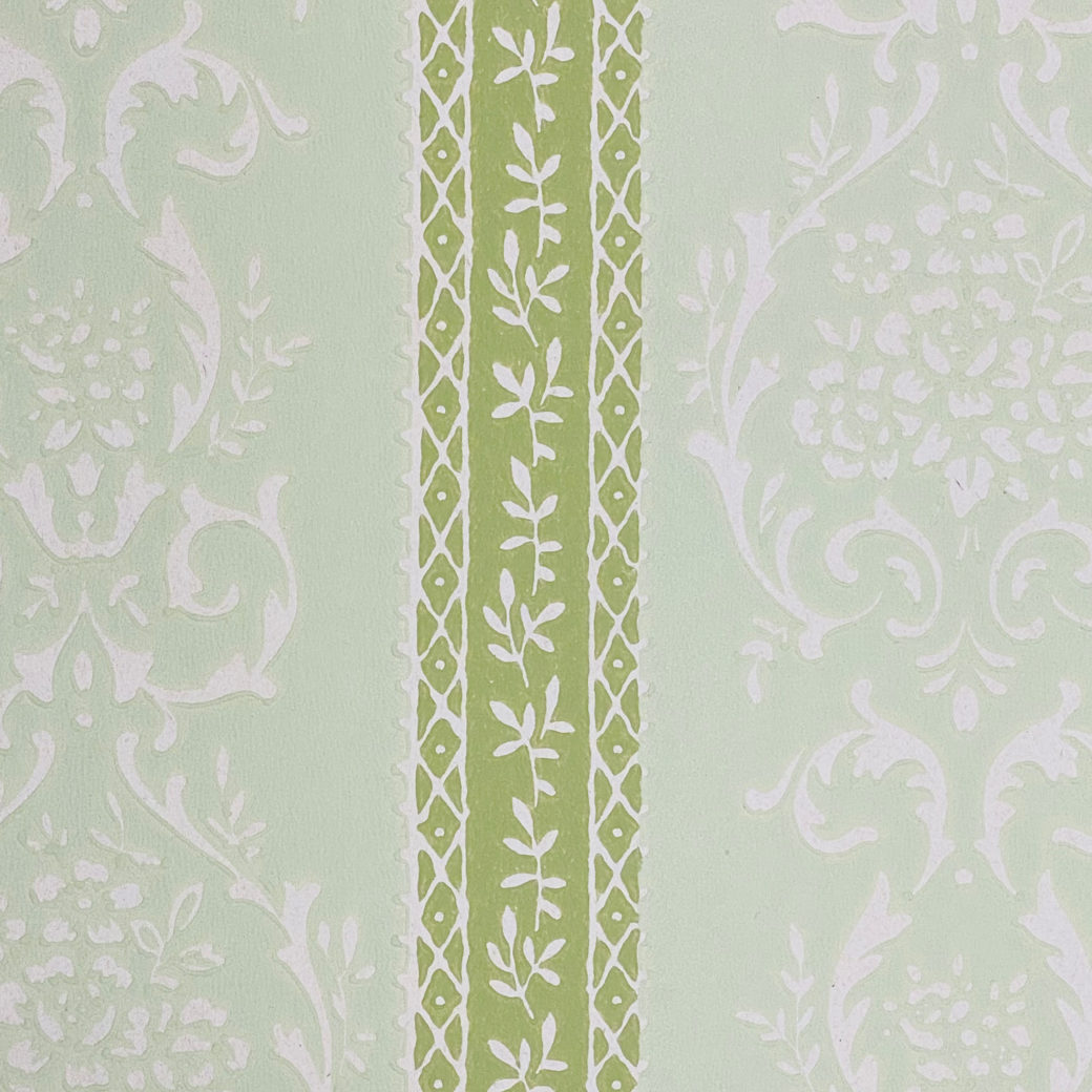 Green Floral Stripe Wallpaper 6