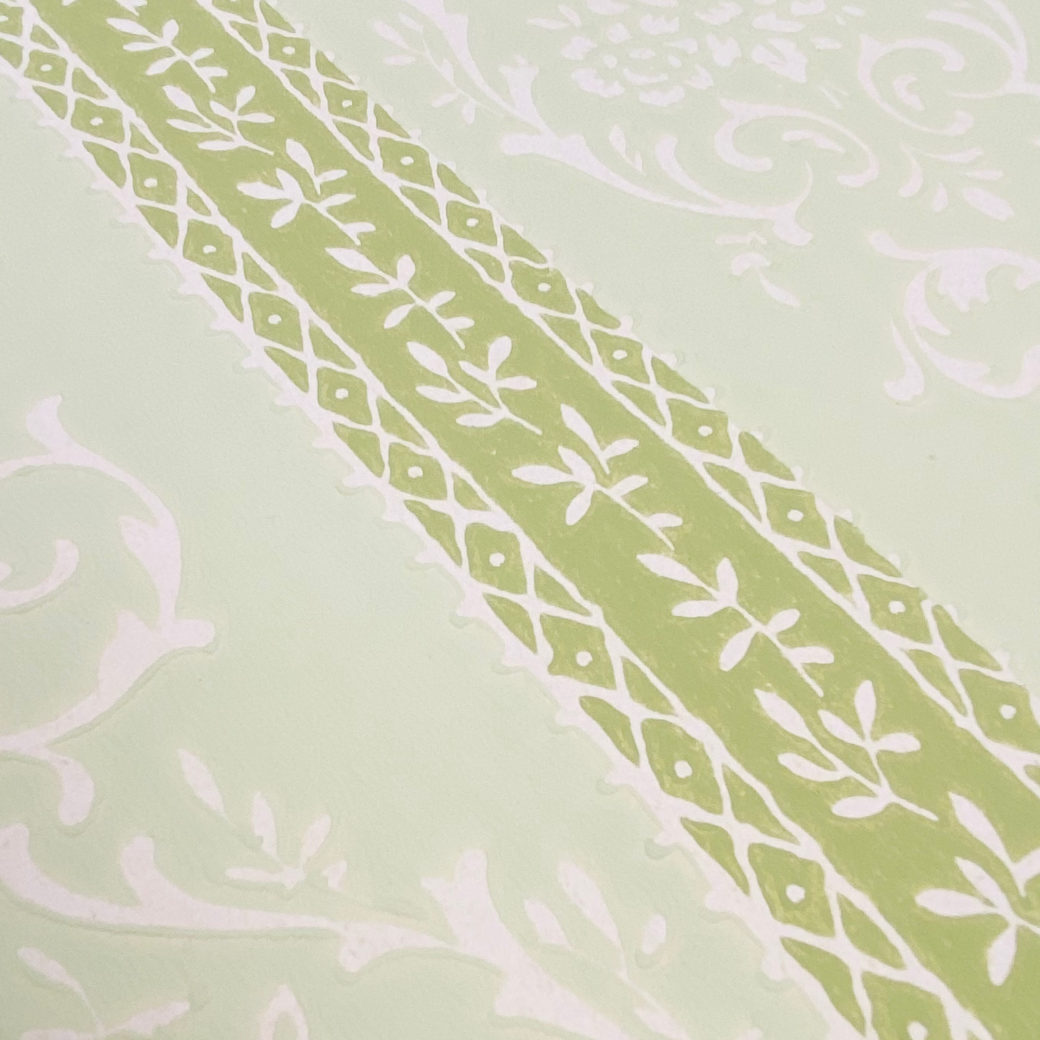 Green Floral Stripe Wallpaper 7