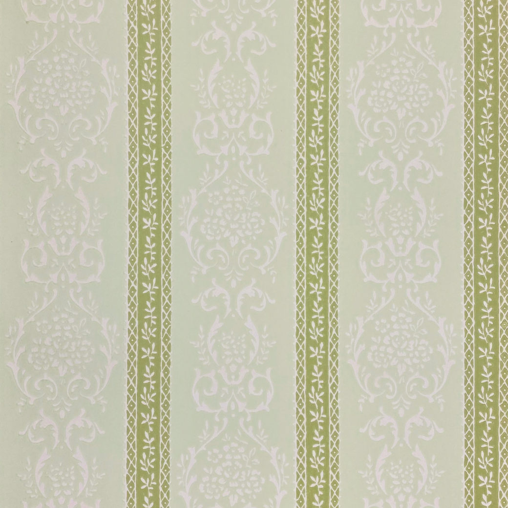 Green Floral Stripe Wallpaper