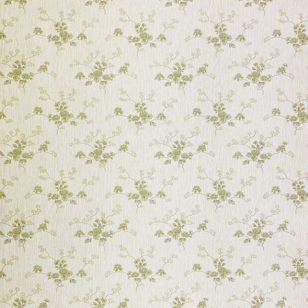 Green Floral Wallpaper with Striped Background 2