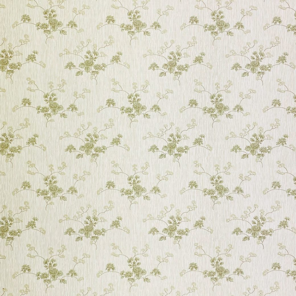 Green Floral Wallpaper with Striped Background 4