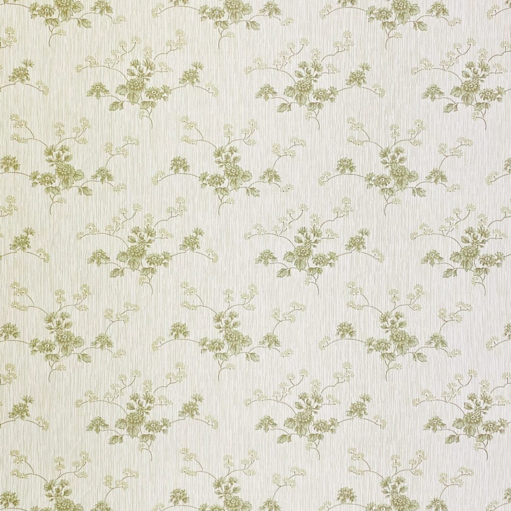 Green Floral Wallpaper with Striped Background 5