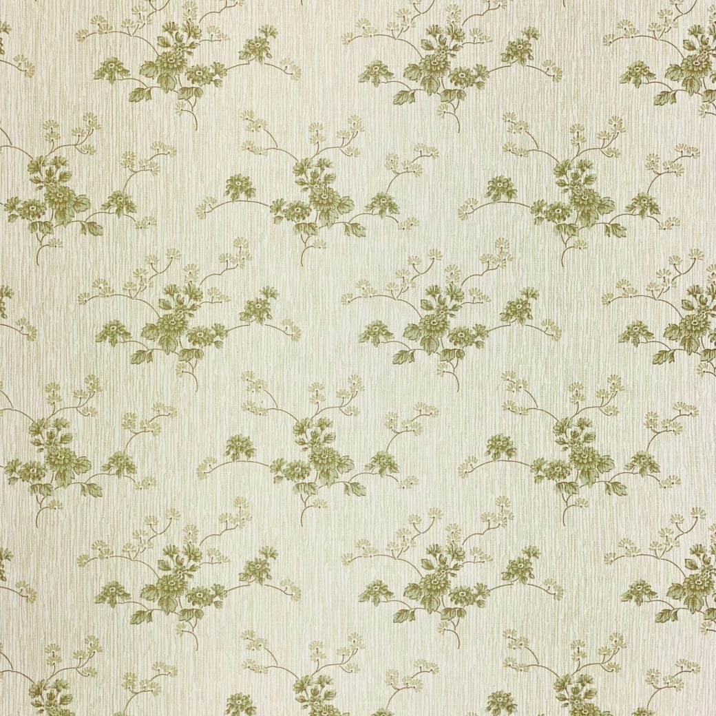 Green Floral Wallpaper with Striped Background 6