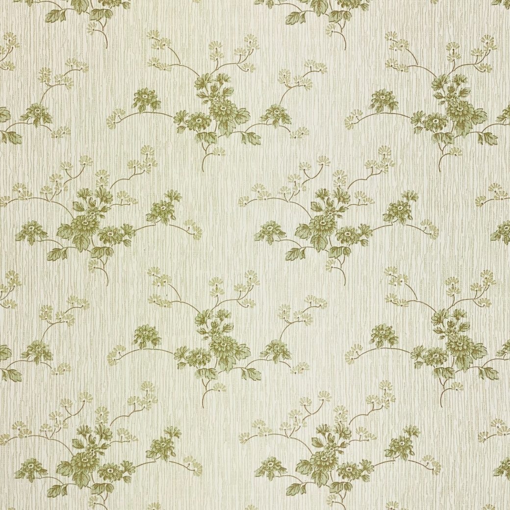 Green Floral Wallpaper with Striped Background 8