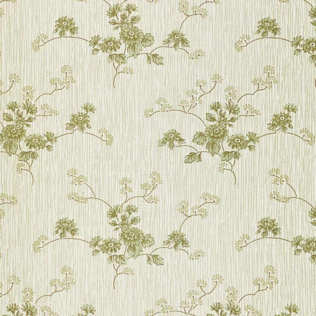 Green Floral Wallpaper with Striped Background 9