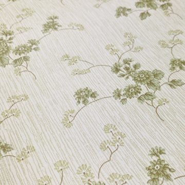 Green Floral Wallpaper with Striped Background 10