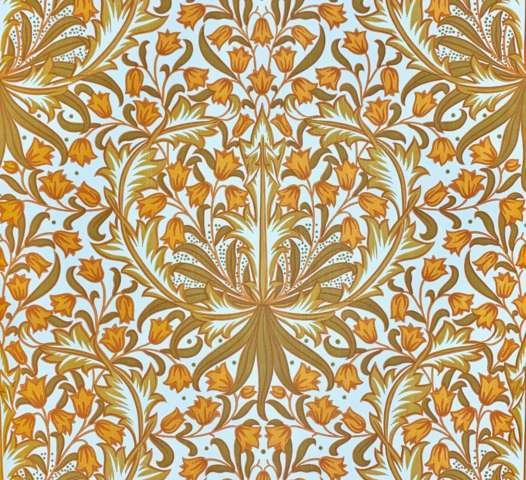 Modern orange baroque wallpaper