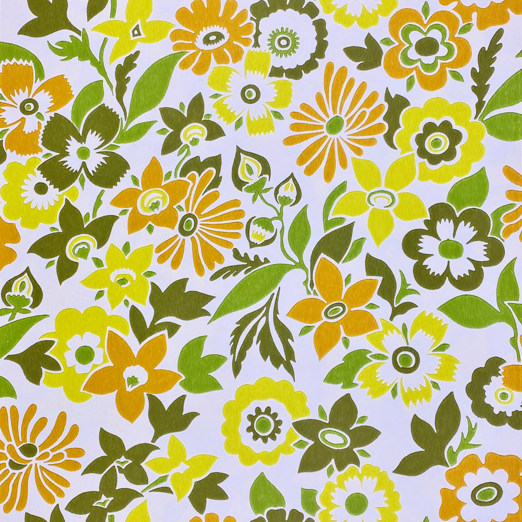 Orange and Green Floral Wallpaper 1