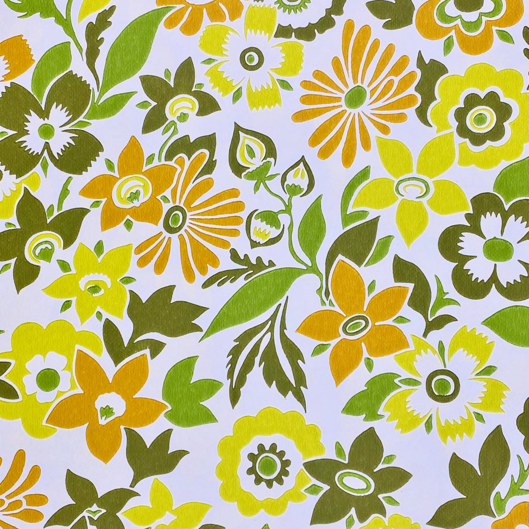 Orange and Green Floral Wallpaper 2