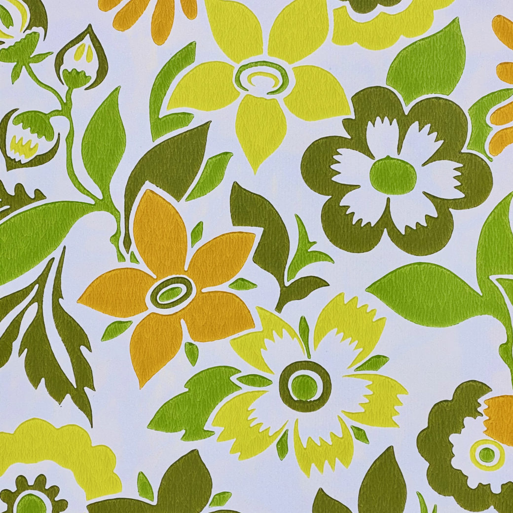 Orange and Green Floral Wallpaper 6