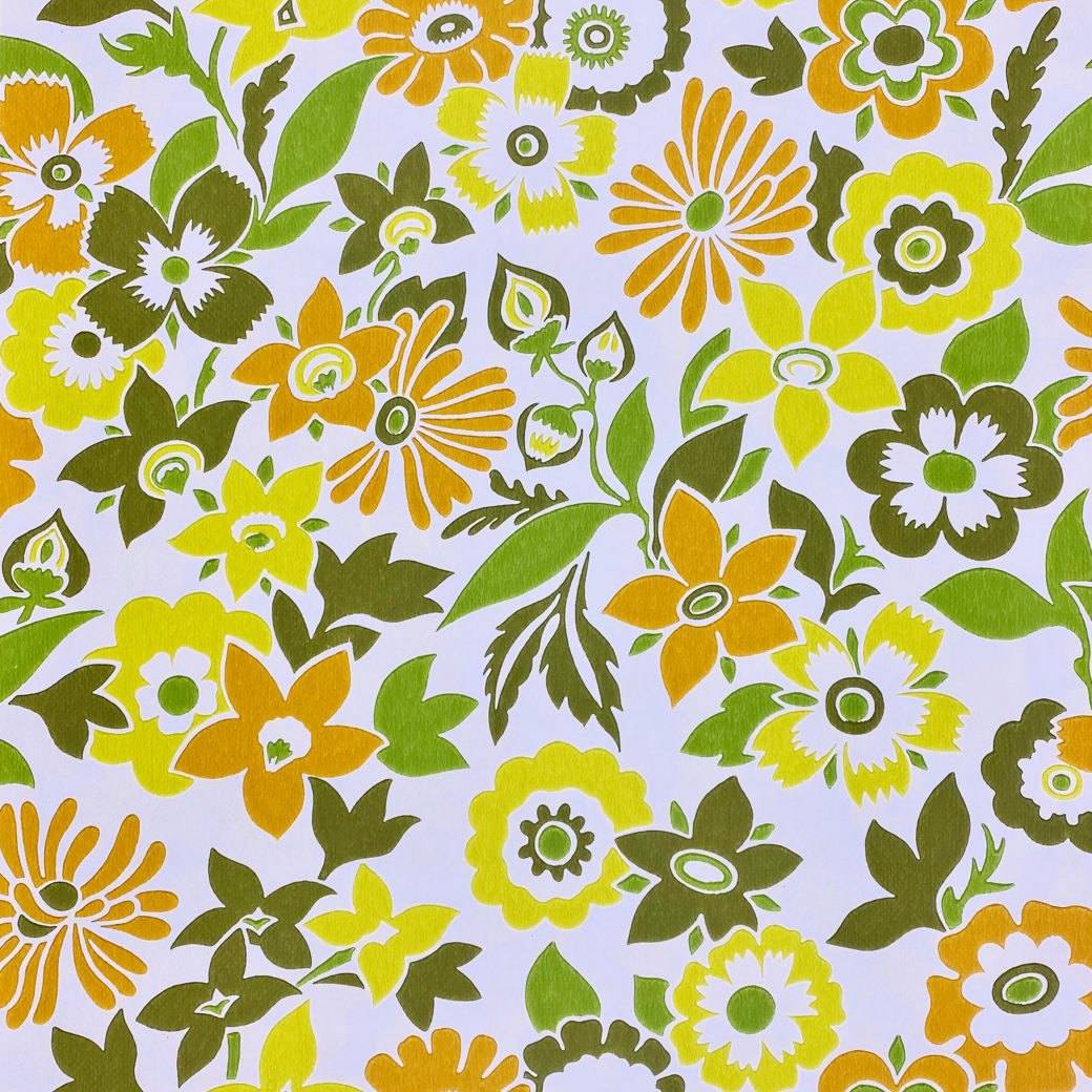 Orange and Green Floral Wallpaper