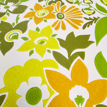 Orange and Green Floral Wallpaper 8