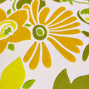 Orange and Green Floral Wallpaper 9