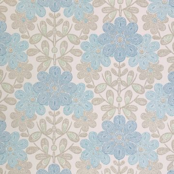 Vintage blue floral wallpaper 1