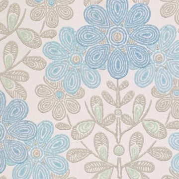 Vintage blue floral wallpaper 2
