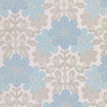 Vintage blue floral wallpaper 3