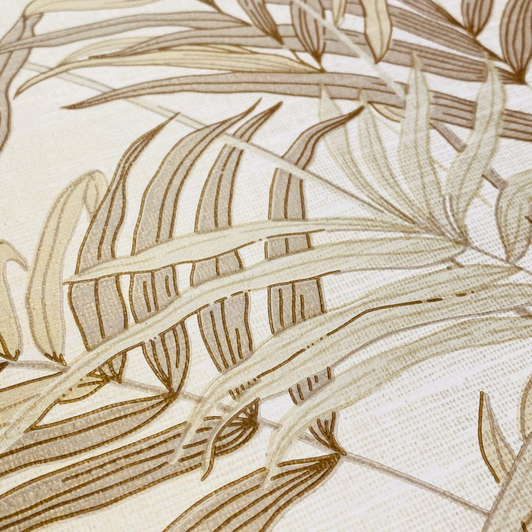 Palm Leaf Floral Wallpaper with Golden Glow11