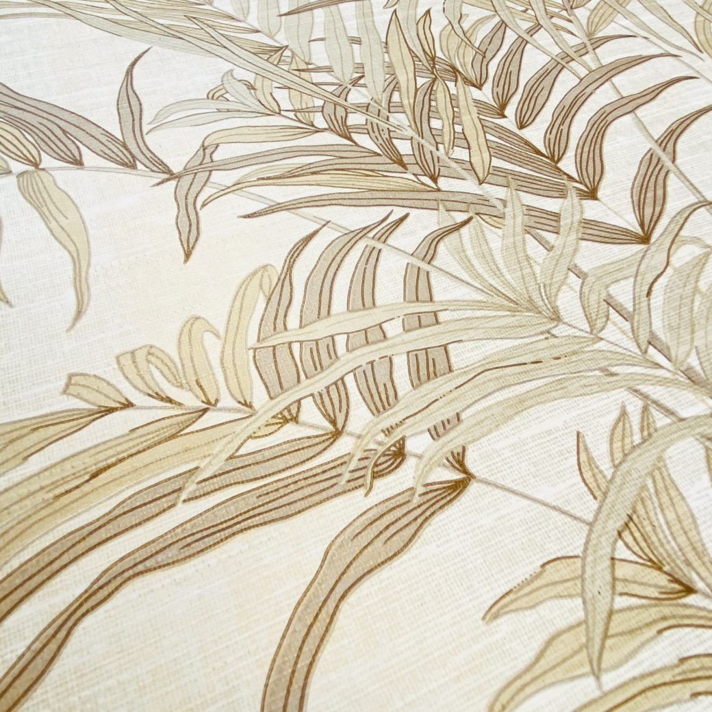 Palm Leaf Floral Wallpaper with Golden Glow12