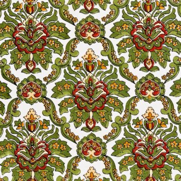 Red and green baroque wallpaper