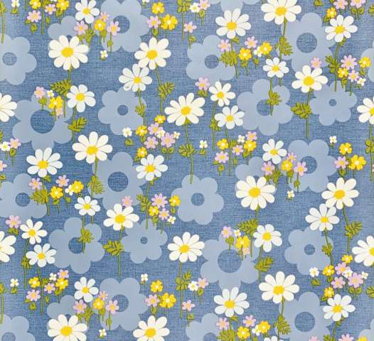 Retro blue floral wallpaper