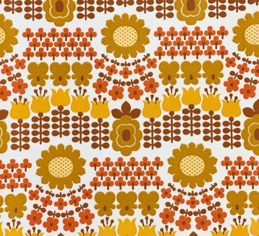 1970s Retro Floral Wallpaper
