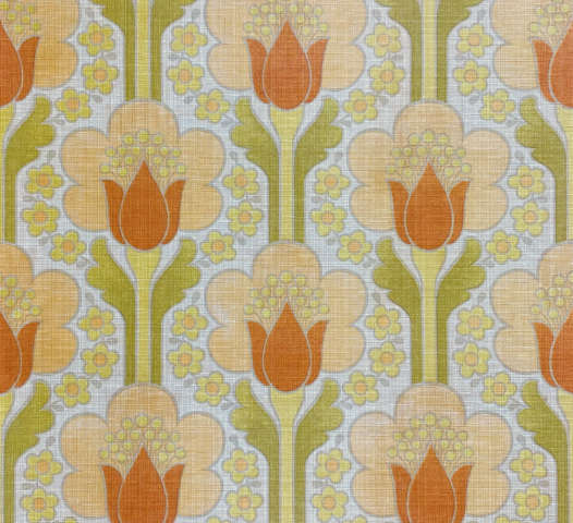 Retro Floral Wallpaper Green and Orange
