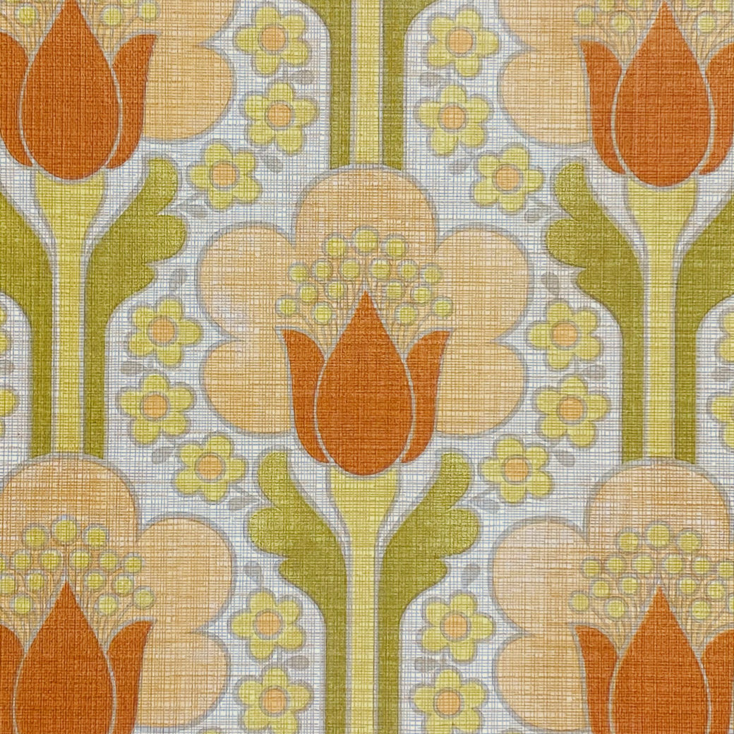 Retro Floral Wallpaper Green and Orange 4