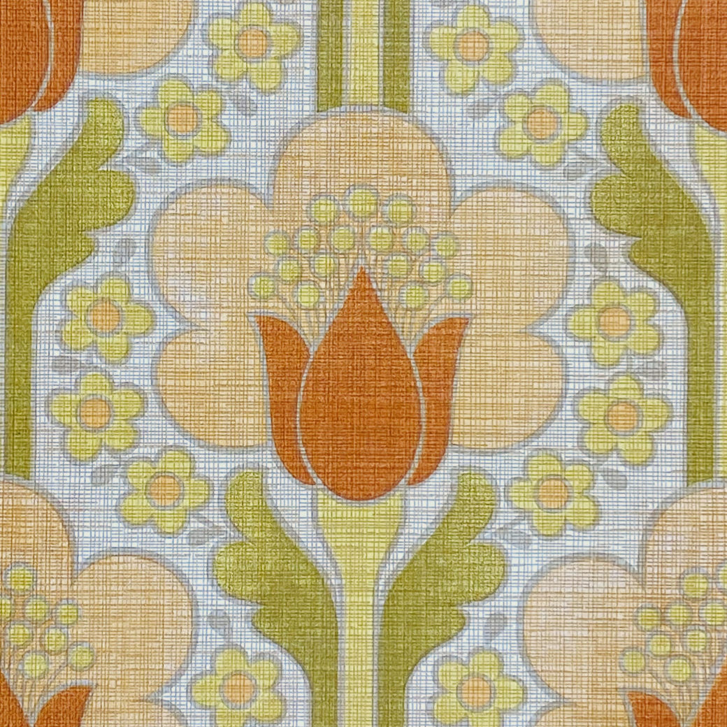 Retro Floral Wallpaper Green and Orange 5