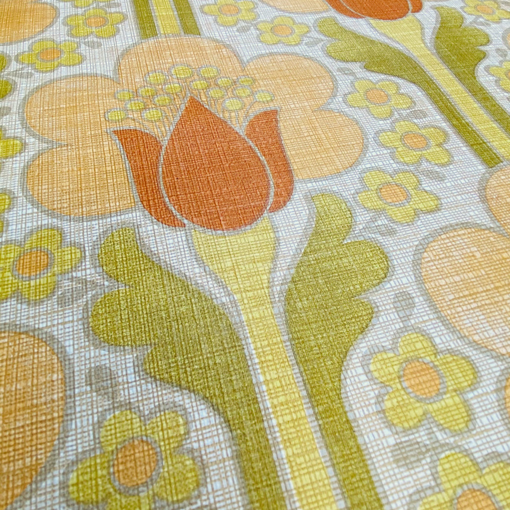 Retro Floral Wallpaper Green and Orange 6
